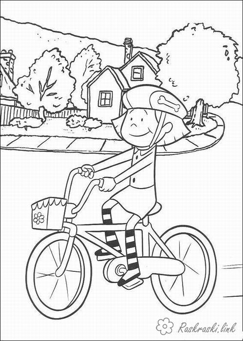 Розмальовки дівчинка Свято 1 червня День захисту дітей дівчинка велосипед