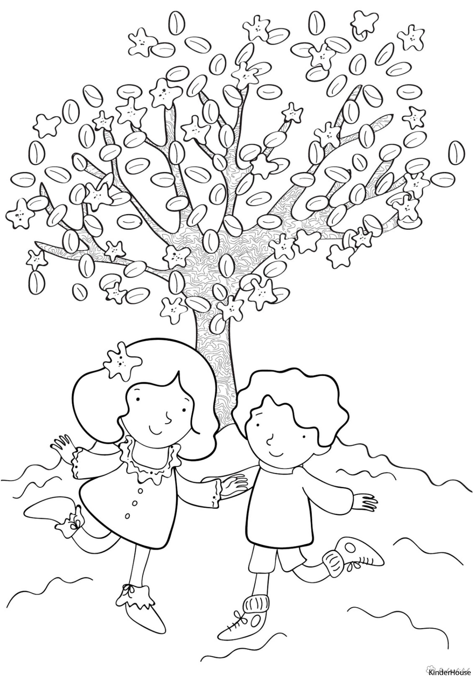 Раскраски дерево праздник 1 июня день защиты детей дети дерево гулять игра лето