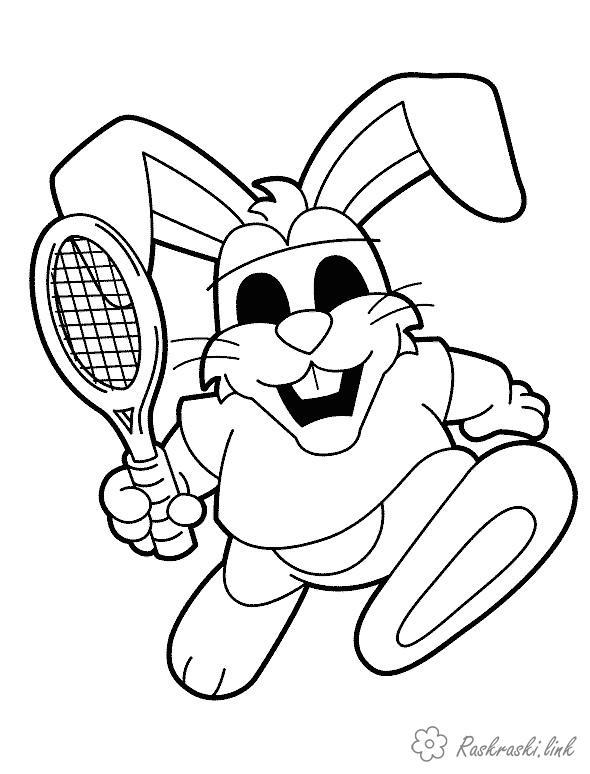 Раскраски теннисист заяц, теннис, спорт
