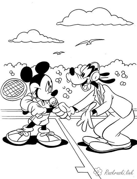 Розмальовки міккі Міккі Маус, Гуфі, теніс, спортивний