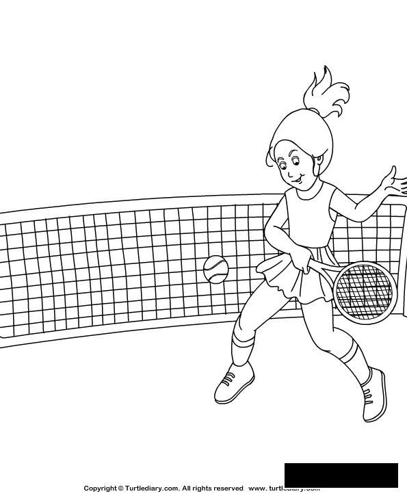 Розмальовки Теніс дівчинка, м'яч, теніс, сітка