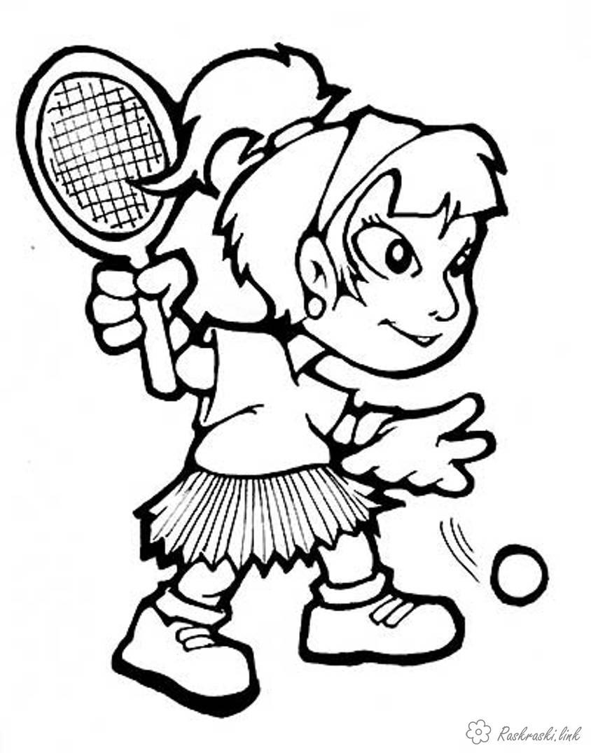 Розмальовки дівчинка дівчинка, теніс, подача, мч