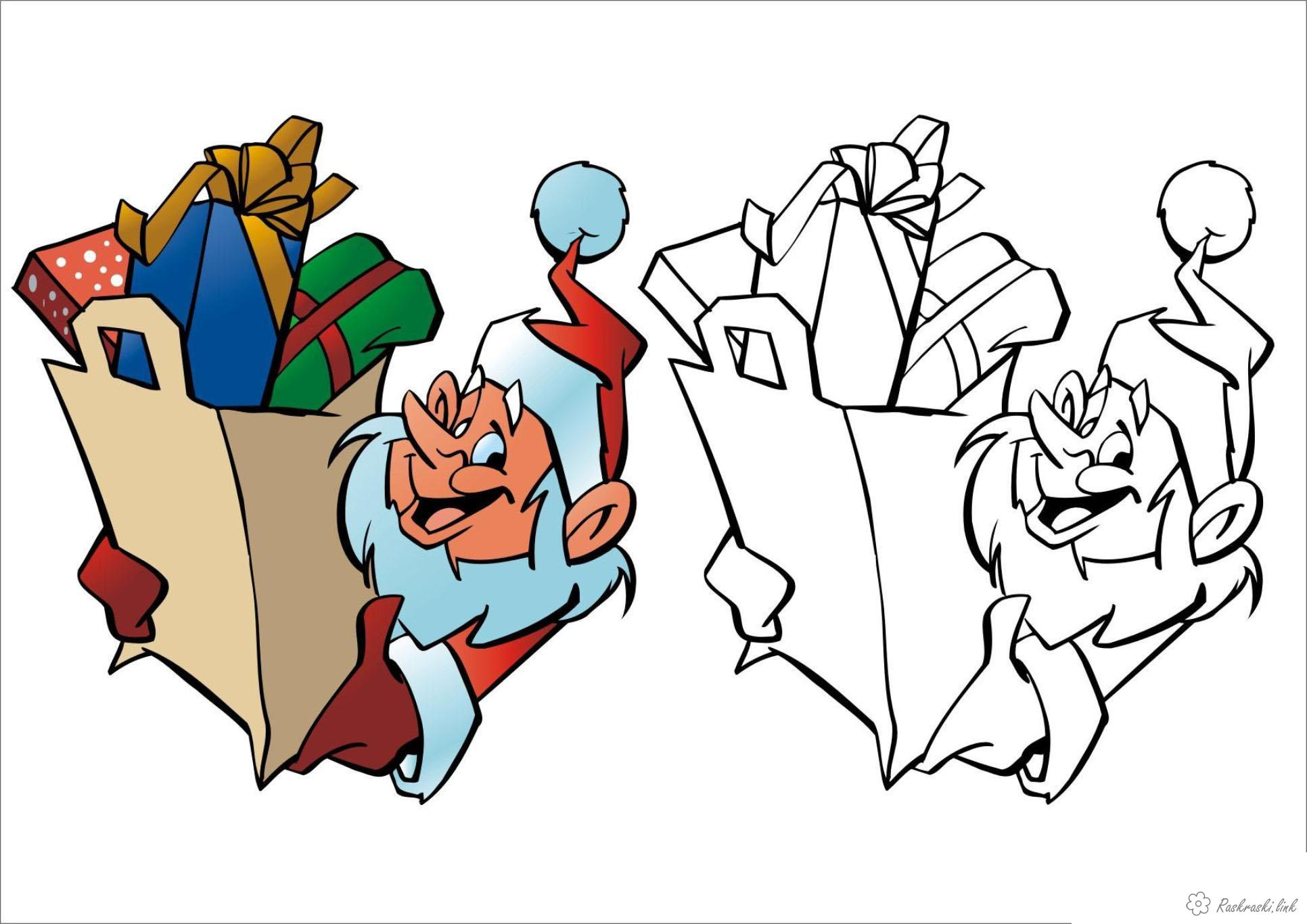 Coloring gifts Santa Claus with gifts
