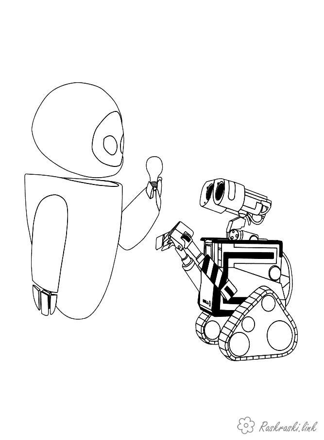 Coloring VALL-I VALL-I, Robot, Light Bulb