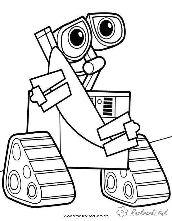 Розмальовки сумний ВАЛЛ-І, робот, розфарбування