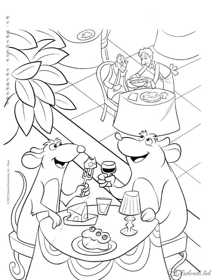 Розмальовки Рататуй рататуй, мишеня, обід