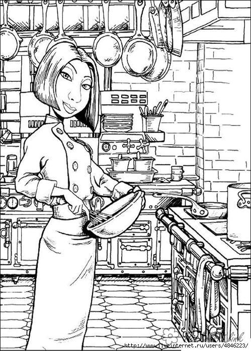 Розмальовки Рататуй рататуй, дівчина кухар