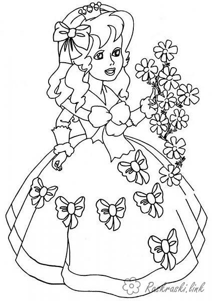 Розмальовки дівчинка Дівчатка, дівчинка, квіти, літо, плаття