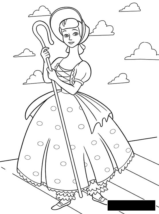 Coloring hat Girl, cowgirl, hat, dress, Staff