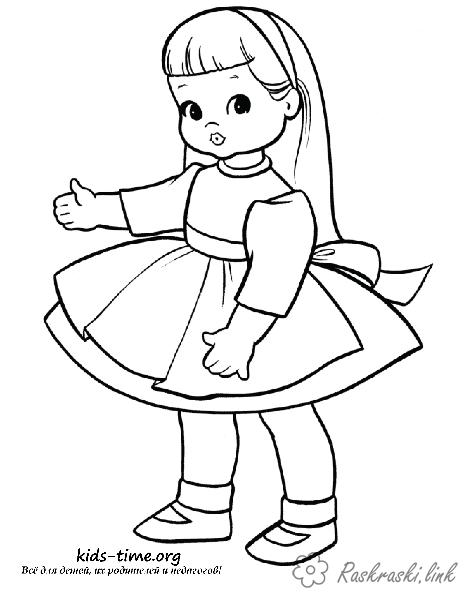 Розмальовки дівчинка Дівчаткам, лялька, іграшка, дівчинка, гра, сукня