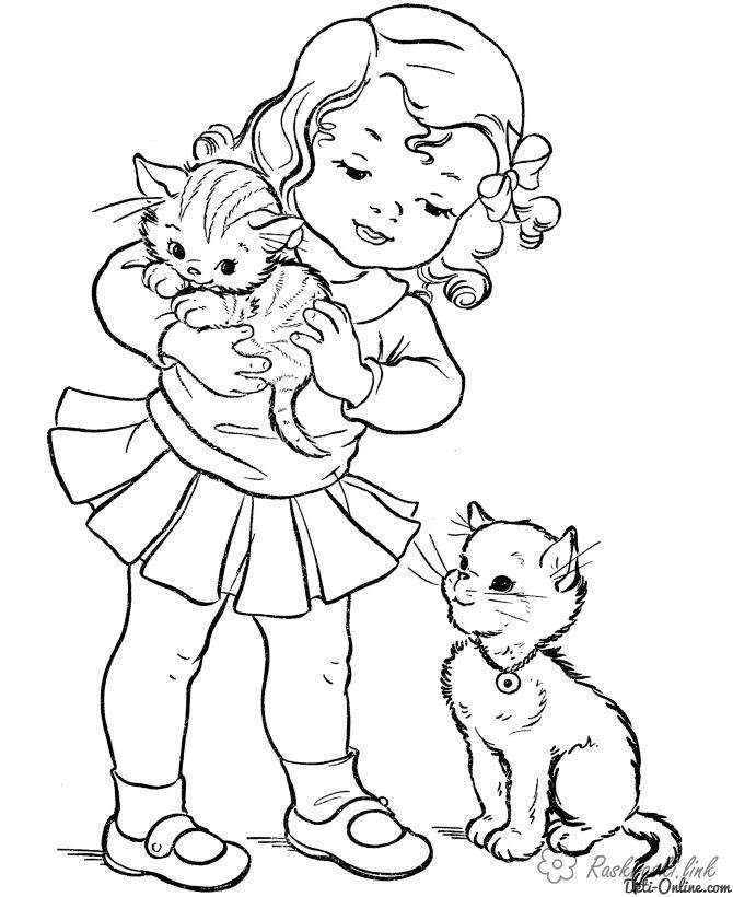 Раскраски котенок Девочкам, девочка, кошка, котенок, котята, игра