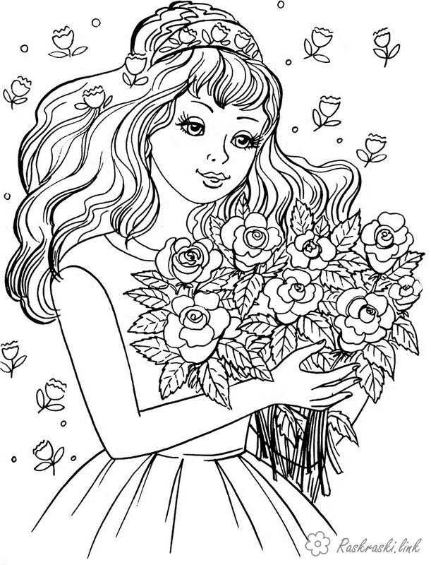 Розмальовки дівчинка Дівчаткам, дівчинка, букет, квіти, троянди