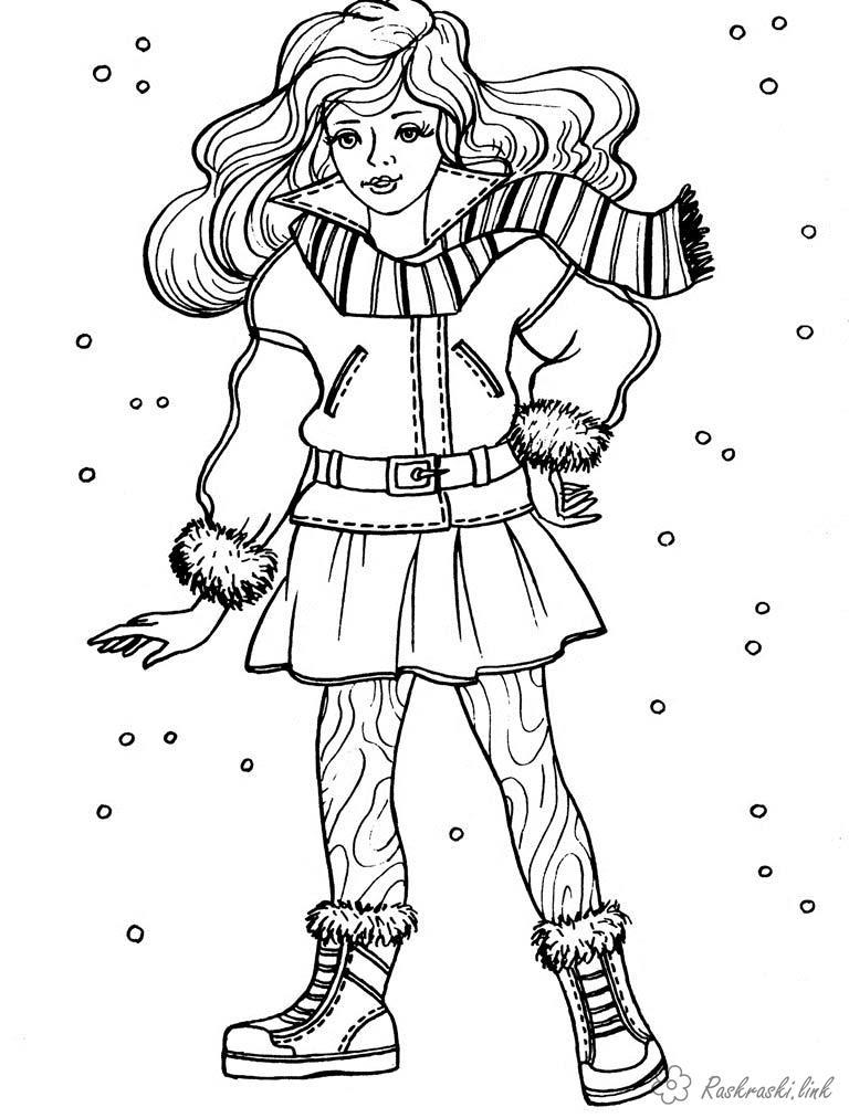 Розмальовки зима Дівчаткам, дівчинка, зима, сніг, одяг, теплий одяг