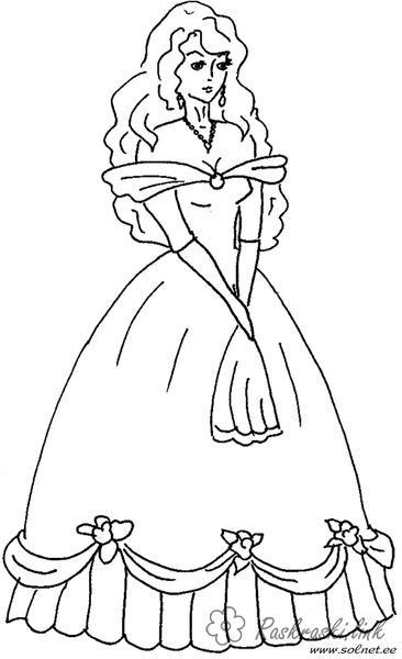 Розмальовки плаття Дівчаткам, дівчинка, плаття, наряд