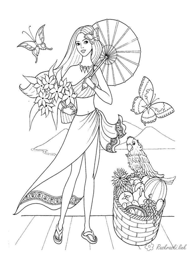 Coloring summer Girls, girls, summer, umbrella, butterflies, birds