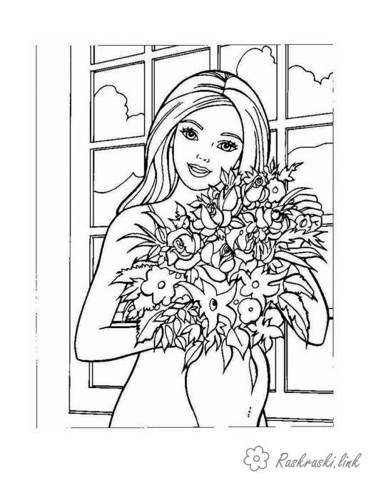 Розмальовки дівчинка Дівчаткам, дівчинка, букет, квіти, ваза