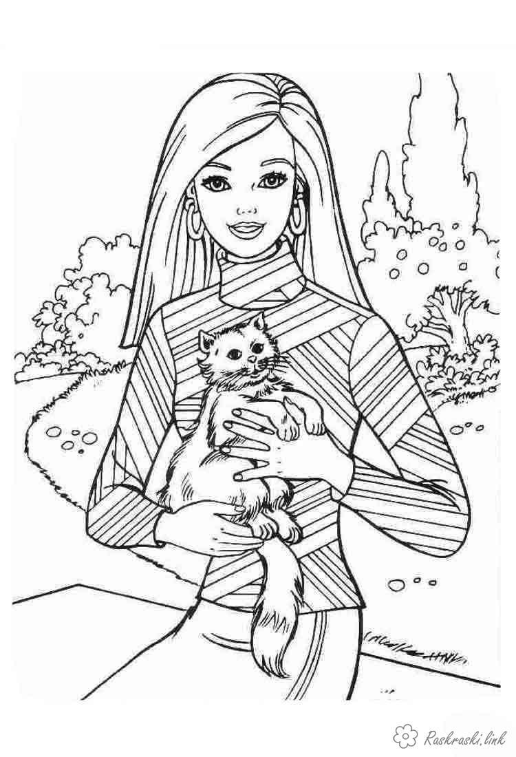 Розмальовки мультфільм Дівчаткам, дівчинка, барбі, персонаж, мультфільм, кішка