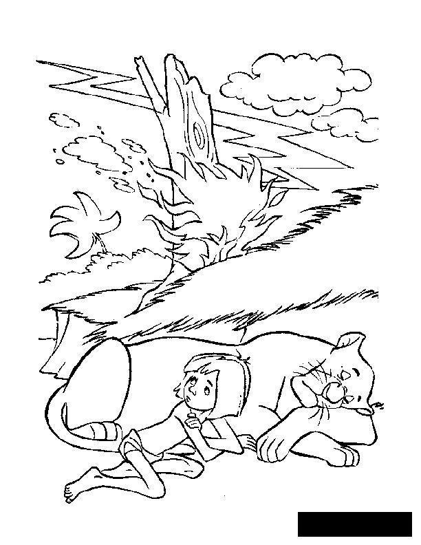 Розмальовки радянський Радянський мультфільм, пантера, мауглі, Кіплінг