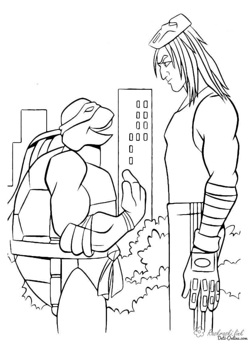 Розмальовки хлопець черепашки ніндзя, розмальовки, розмальовки хлопчикам, teenage mutant ninja turtles, хлопець, леонардо