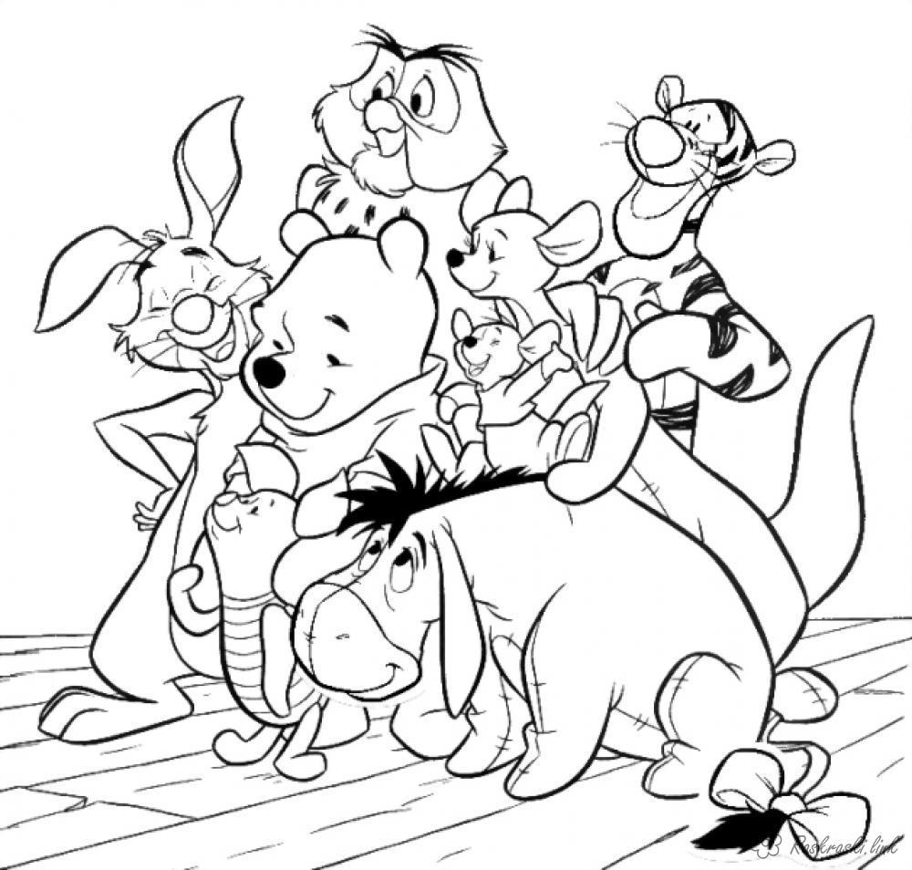 Розмальовки мультфільмів вінні пух, розмальовки, розмальовки з мультфільмів, пух, тигра, заєць