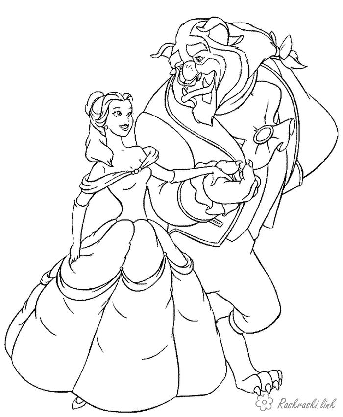 Coloring Walt Disney Beauty and the Beast, a monster, girl, dance, coloring pages, coloring pages cartoons