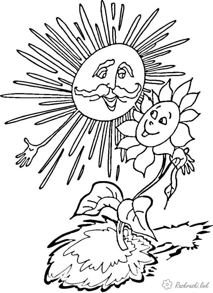 Розмальовки сонячно природа явище природи сонце сонячно квітка