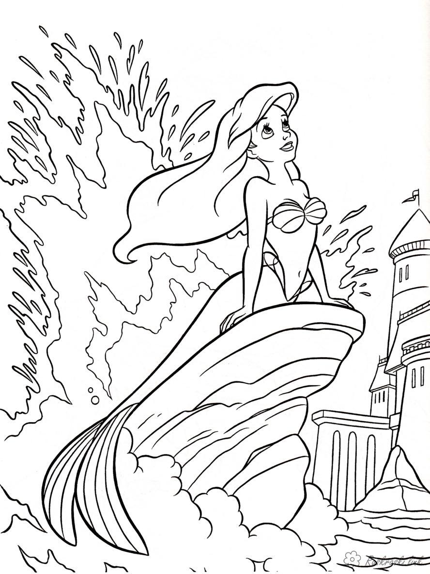 Розмальовки Уолт Дісней Аріель, Аріель, хвиля, дисней, розмальовки, розмальовки з мультфільмів