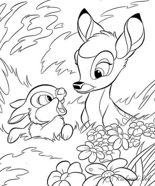 Розмальовки бембі Бембі, зайчик, дисней, розмальовки, розмальовки з мультфільмів
