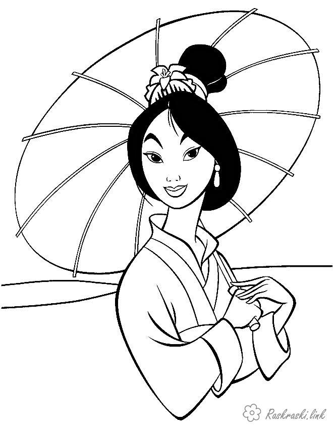 Розмальовки мультфільмів Мулан, дисней, мультфільми, розмальовки з мультфільмів, парасолька