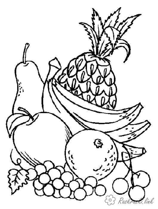 Розмальовки Їжа дитячі розмальовки, розмальовки фруктів