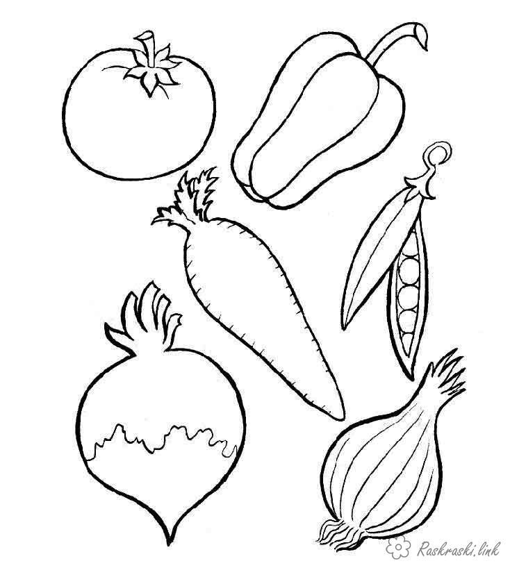 Розмальовки Їжа розмальовки для дітей, розмальовки овочів, їжа розмальовки