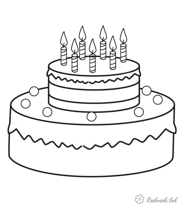 Розмальовки Їжа розмальовки для дітей, розмальовки тортів, десерт, розмальовки тістечок