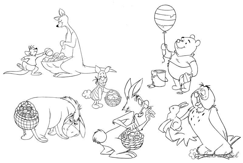 Розмальовки Уолт Дісней вінні пух, розмальовки, розмальовки дітям, вінні