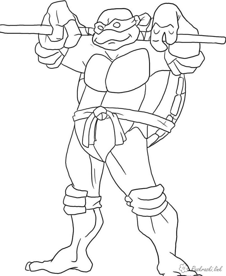 Розмальовки Черепашки ніндзя черепашки ніндзя, розмальовки, розмальовки хлопчикам, teenage mutant ninja turtles, Донателло