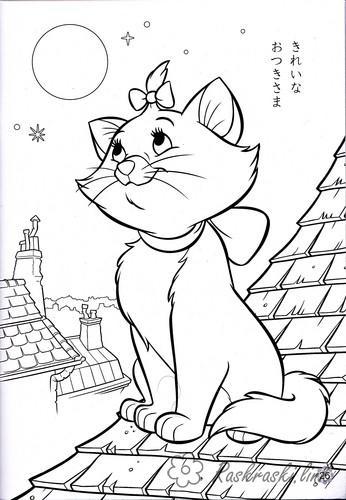 Раскраски котенок кошечка, котенок, раскраска, для девочек
