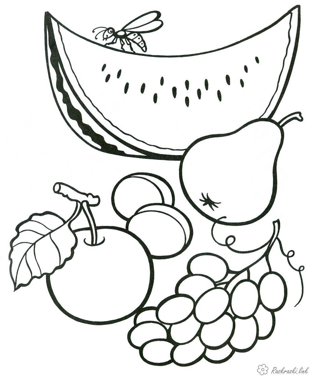 Розмальовки Фрукти  розмальовки фрукти, для дітей, роздрукувати, онлайн
