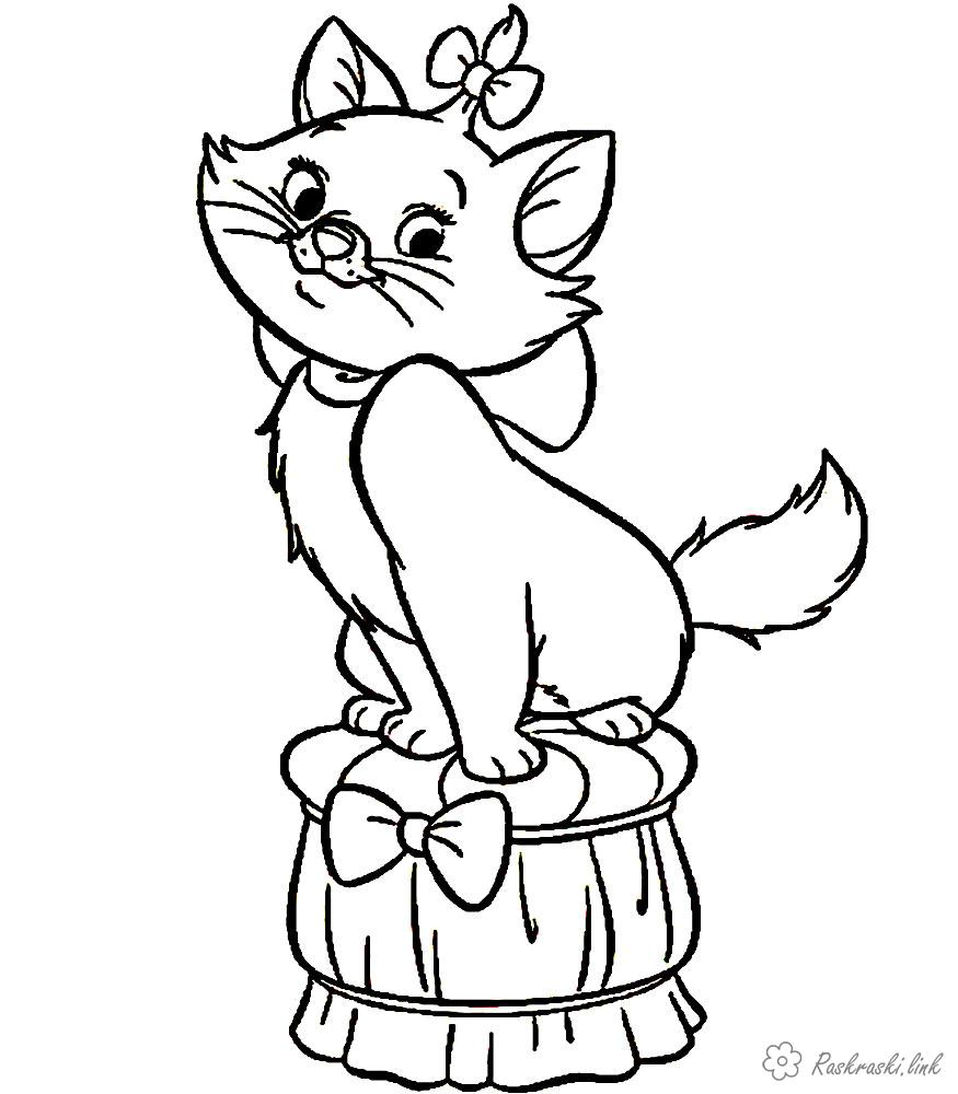 Coloring Domestic animals coloring pages cats, kittens, online, print, free of charge