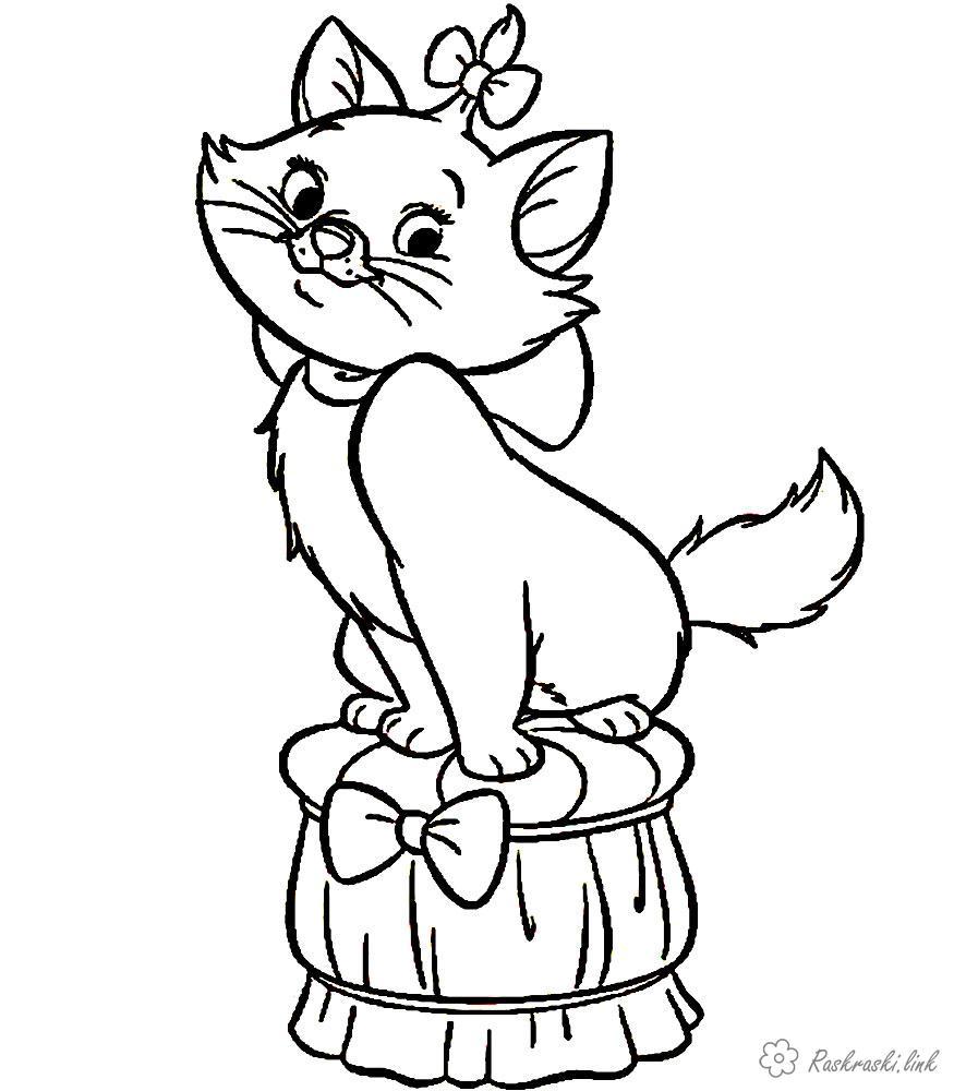 Розмальовки Домашні тварини розмальовки кішки, кошенята, онлайн, роздрукувати, безкоштовно
