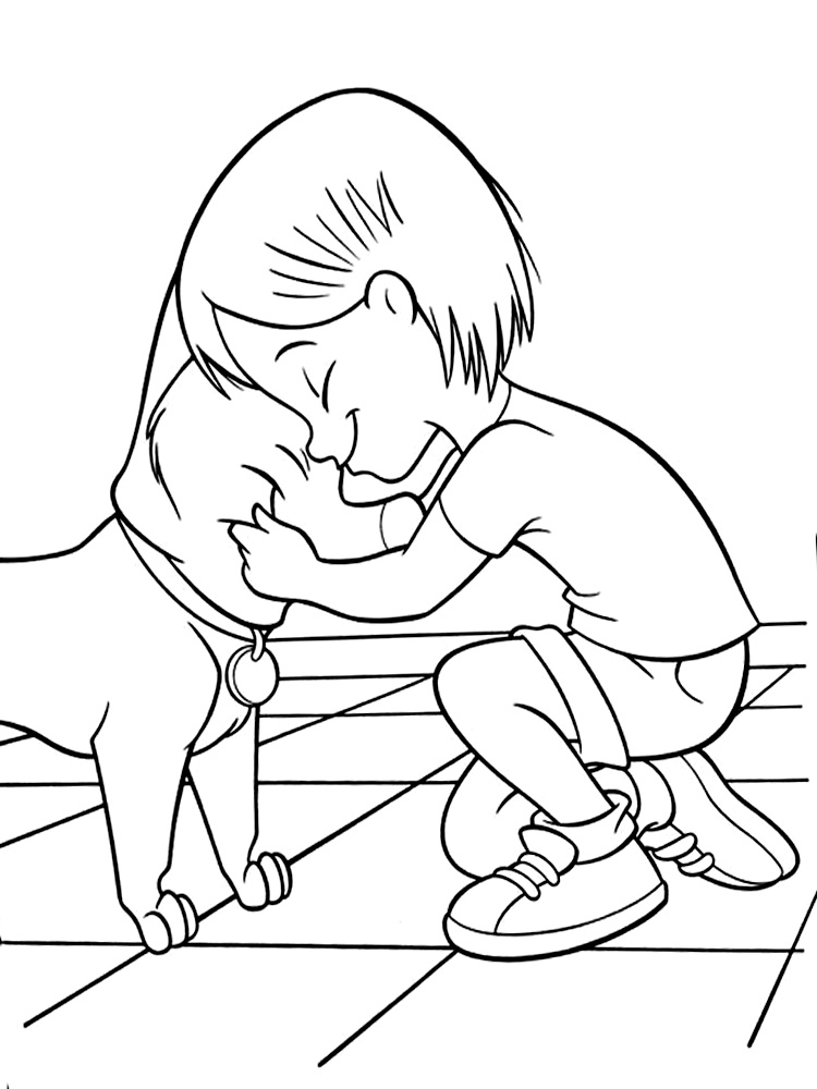 Coloring Dogs a boy and a dog, a loyal friend, coloring pages