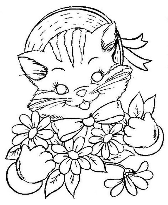 Coloring hat beautiful cat with flowers