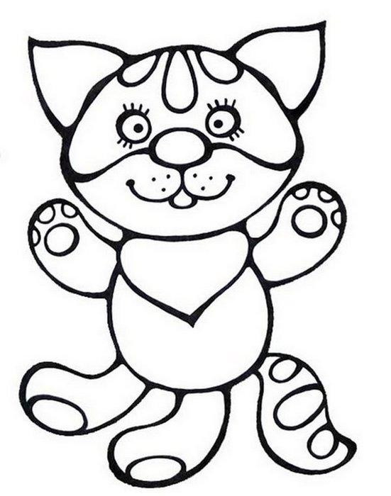 Розмальовки Кішки  розфарбування домашній маленьке кошеня