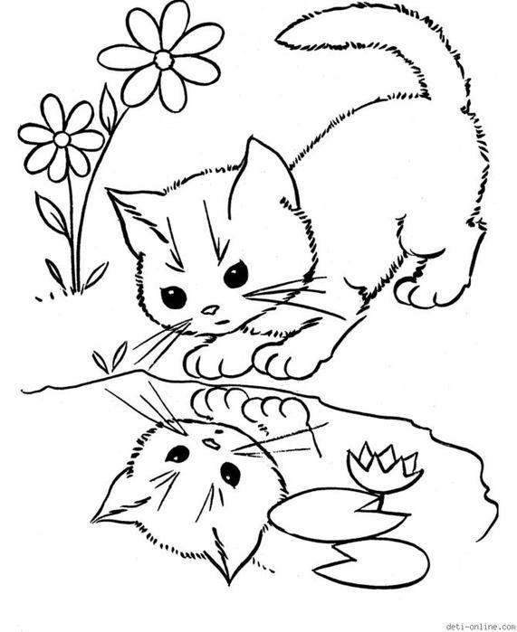 Розмальовки Кішки  кошеня, калюжа, маленький