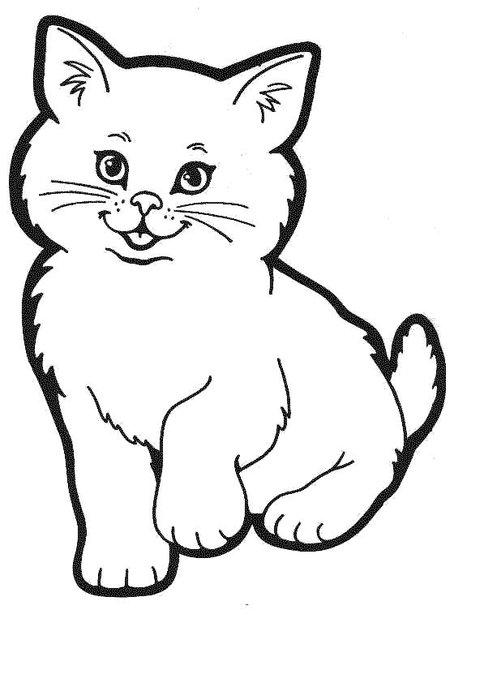 Розмальовки Кішки  розмальовки, пухнасте кошеня, для дітей