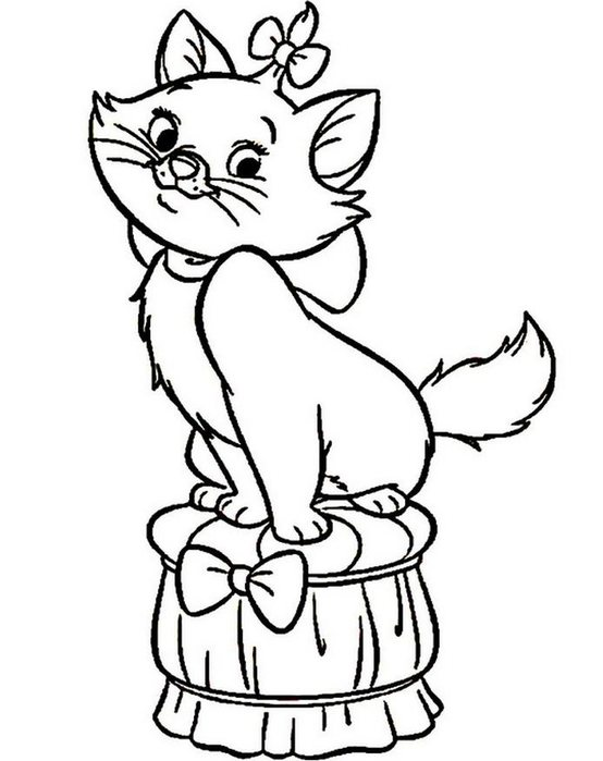 Розмальовки Кішки  розфарбування, стільчик, кішечка, бантик