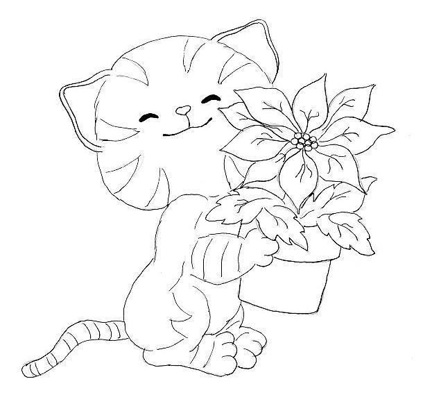 Розмальовки Кішки  розфарбування кошеня і горщик з квітами