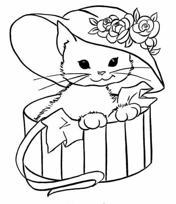 Розмальовки Кішки  розфарбування, кішка, капелюх, ящик