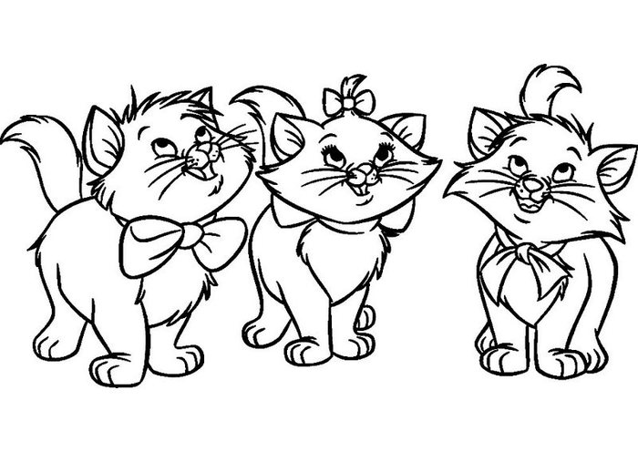 Розмальовки Кішки  розмальовки трьох смішних кошеня, для дітей