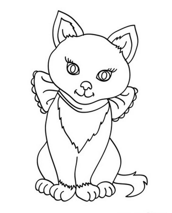 Розмальовки бантом розмальовки, кішка, бант, сидить