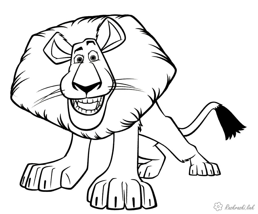 Coloring Wild animals coloring pages lions, large lions, lion cubs, carnivores