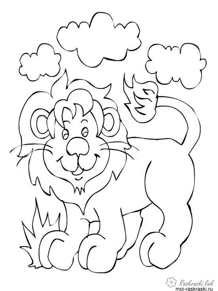 Coloring cub coloring pages cub, grass, clouds